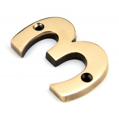 Polished Bronze Numeral 3